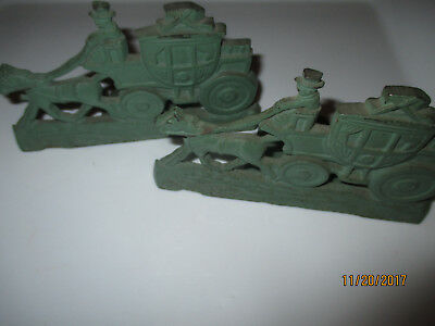 2 Rare Spencer Cast Iron Victorian Horse And Carriage Bookends--Location Laun1