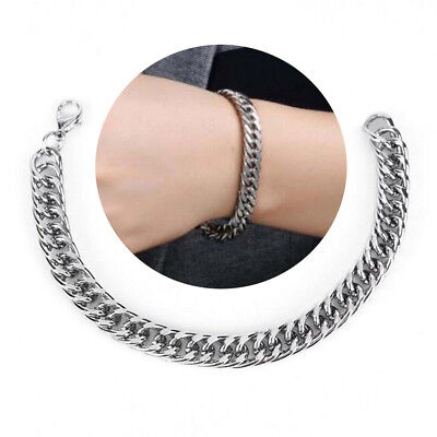 Mens Silver Stainless Steel Bracelet Wristband Bangle Cuff Punk Chain Link Charm
