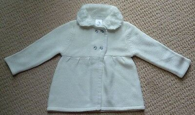 NWT Target Girls White Faux Fur Knit Cardigan Size 00 or Size 1
