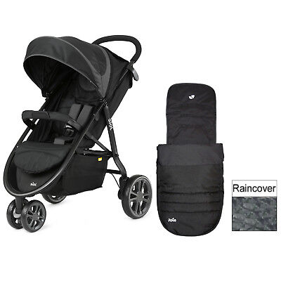 Joie Midnight Litetrax Stroller 3 Wheeler Stroller Pushchair Buggy + Raincover