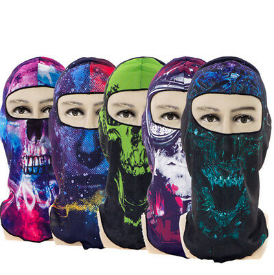 Winter Full Face Warm Mask Outdoor Windproof Skull Printed Mask Hat Riding UK
