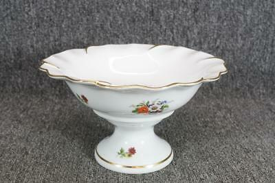 """Limoges Porcelain White Compote W/Floral Design Made In France 5.5"""" Tall"""