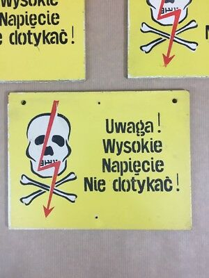 "Vintage Warning Sign ""High Voltage"" Made in Poland Industrial Signage"