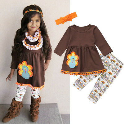 Toddler Baby Girls Outfit Clothes Long Sleeve Dress Tops+Long Pants+Headband Set