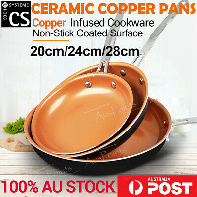 Ceramic Copper Non-Stick Induction Frying Pan Dishwasher Oven Safe Fry Cookware