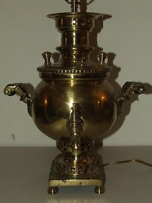 Antique Heavy Brass Signed Russian Samovar Converted to Electric Table Lamp RARE