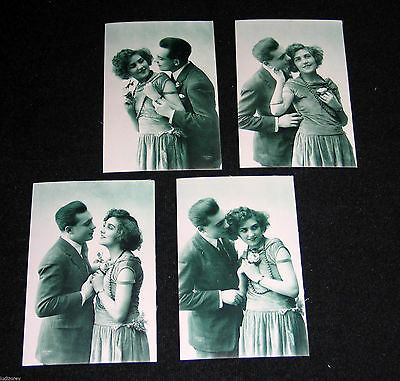 4 Cpa 22 Couple Amoureux Art Deco Glamour Miss Pin-Up Mode Garconne Flapper