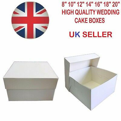 """White Cake Boxes Wedding Birthday 8 10 12 14 16 18 20"""" Inch Cup Boards Party"""