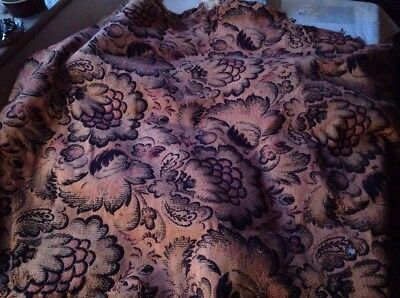 Vintage Black & Brown Fabric Floral Cotton Wool Textiles French Upholstery Decor