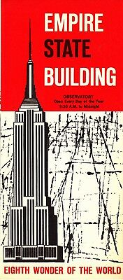 Vintage 1960s EMPIRE STATE BUILDING Eighth Wonder Of The World FOLD-OUT BROCHURE