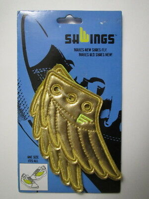 Shwings GOLD WINGS Shoe Accessory - Lace onto any sneakers! NEW