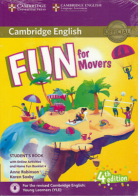 Cambridge English FUN FOR MOVERS 4th Edit for 2018 Exam Student Book+Extras @NEW