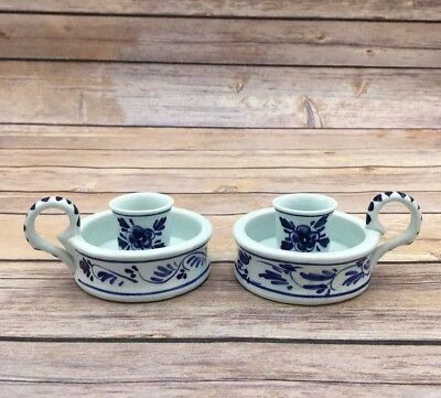 Blauw Blue Delft Holland Handled Chamber Candlestick Taper Lot of 2