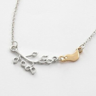 """Ladies silver necklace gold bird charm & tree branch  20 """" chain fashion gift"""