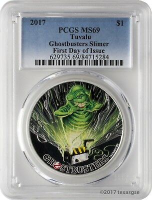 2017 $1 Tuvalu Ghostbusters Slimer .9999 Silver Coin PCGS MS69 First Day