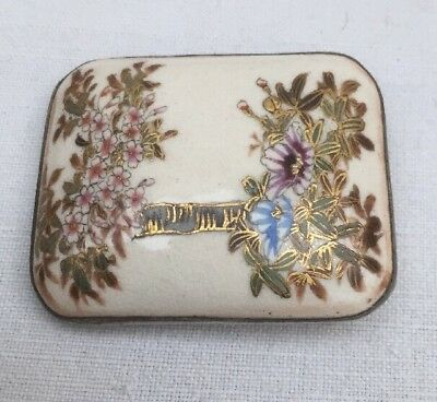 Antique Satsuma Porcelain Buckle Brooch Makers Mark To Reverse