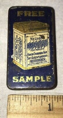 Antique Free Sample Nelson Hair Dressing Tin Litho Can Vintage Barber Salon Old