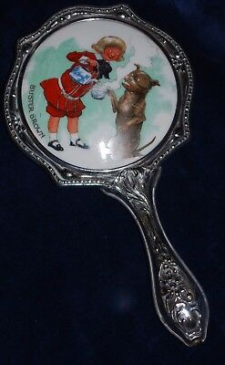 "RARE Antique Buster Brown & Tige Advertising 7"" Silver Metal Hand Mirror"