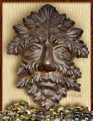 Earth Man Spirit Plant Leaf Face Dryad Wall Mask Art Sculpture Cast Iron Plaque