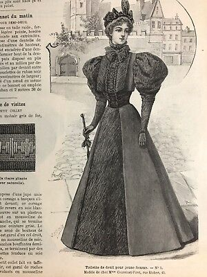 French MODE ILLUSTREE SEWING PATTERN Aug 16,1896  MOURNING DRESSES
