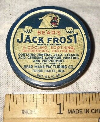 Antique Bears Jack Frost Tin Litho Salve Ointment Medicine Can Terre Haute In