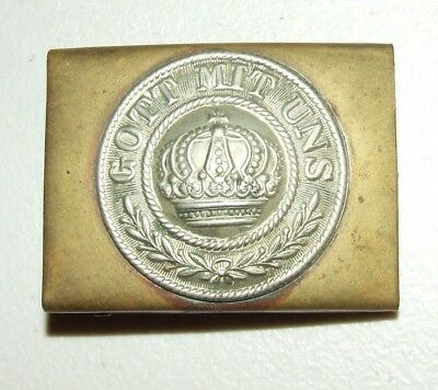 WWI German Imperial Army Belt Buckle Brass & Nickel Gott Mit Uns Prussian Crown