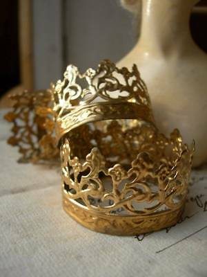 Convent find - 3 antique French 1890s tiny pireced gilded metal crowns