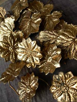 Collection 14 antique French gilded toleware flowers, leaves - projects