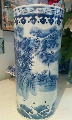 Vintage Chinese blue and white vase or umbrella stand.