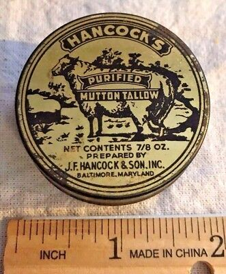 Antique Hancock Mutton Tallow Baltimore Md Tin Litho Skin Medicine Salve Can Old