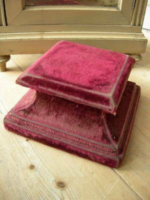Antique French early 19th Century velvet & wood plinth stand socle