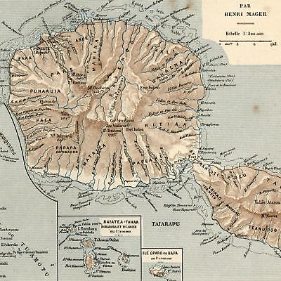 Tahiti South Pacific French Colonial old map 1890s Bayle detailed Oceania
