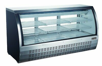 "New 78"" Commercial Curved Refrigerated Glass Deli Case & Free Lift Gate Delivery"
