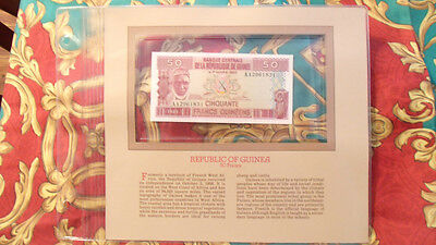 Most Treasured Banknotes Guinea 1985 50 Francs P29a UNC Prefix AA