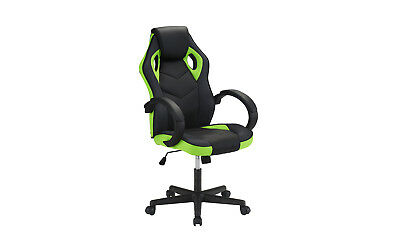 High Back Racing Computer Gaming Chair, PU Leather Swivel Office Chair, Blk/Grn