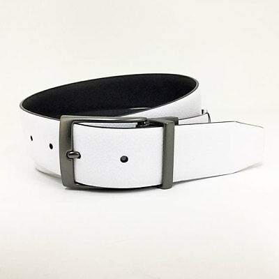 Nike Golf Textured Leather Reversible Belt Size 34 (Fits 32) White/black 18527