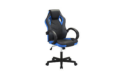 High Back Racing Computer Gaming Chair, PU Leather Swivel Office Chair, Blk/Blue