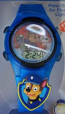 NIckelodeon Paw Patrol Flashing Charm & Dial LCD Kids Light Up Watch New Chase