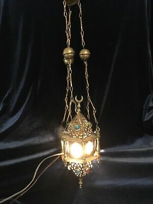 2 Vintage Middle Eastern Brass with Glass Panelled Jewel Electric Lantern PAIR