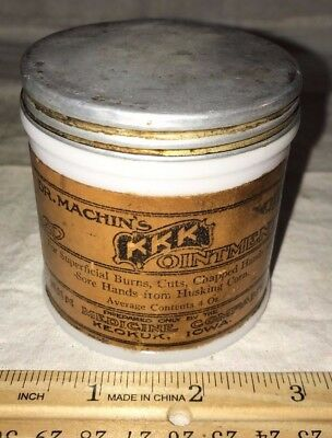 Antique Dr Machins Kkk Ointment Medicine Keokuk Iowa Vintage Glass Jar Tin Lid