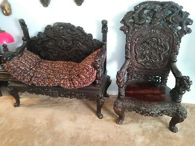Chinese Antique 2 Pc. Mahogany dragon highly Carved Parlor settee