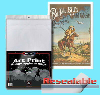 100 BCW 11x17 RESEALABLE ART PRINT 2 MIL BAGS New Storage Photo Poster Archival