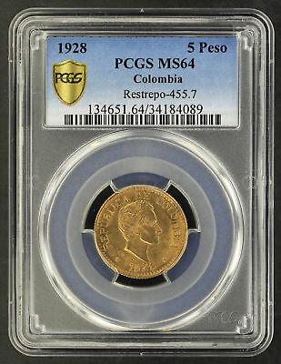 1928 Colombia Gold 5 Pesos Restrepo-455.7 PCGS MS-64 Secure -165446