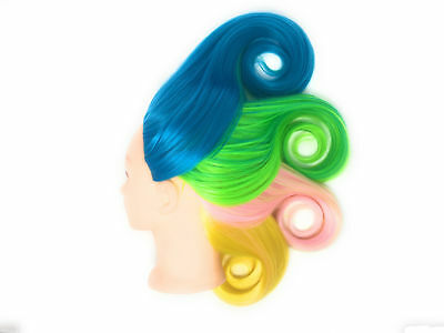 """Cosmetology Mannequin Head Hair Training Synthetic 26"""" blue/green/yellow"""