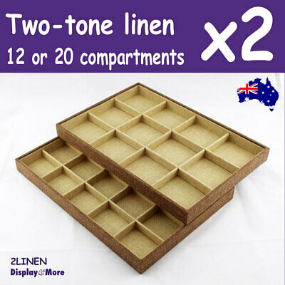 Jewellery Tray | 2pcs | Two-Tone LINEN | 12 or 20 Compartments | AUSSIE Seller
