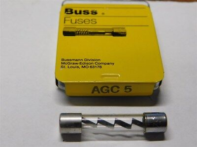 """5 Buss Fuses AGC-5, 5A 32V Fast Acting 1/4""""X 1-1/4"""" Glass Body Fuses"""