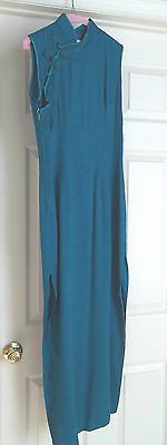 Ladies Dress Size 36 Chinese - Jade - Peony Qi Pao - Tea Length