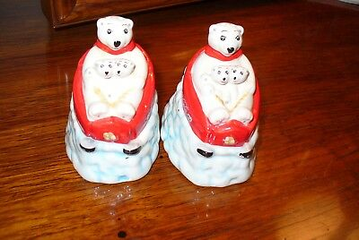 Coca-Cola Christmas Salt & Pepper shakers ( Mama Bear & Twin Cubs)