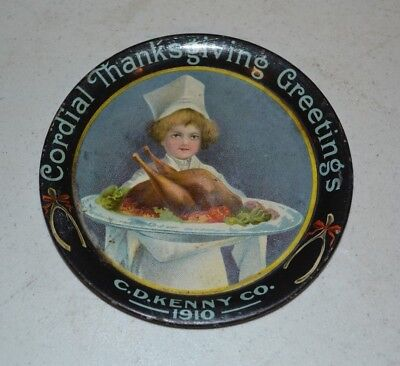 """4"""" C.D. Kenny Co. 1910 Thanksgiving Tip Tray"""