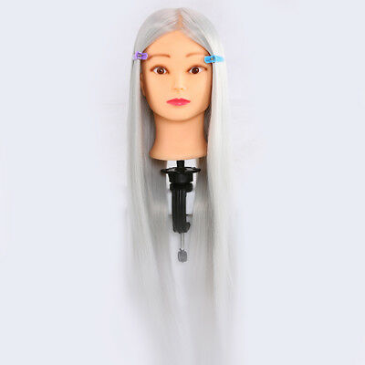 """Cosmetology Mannequin Head Hair Training Synthetic 22"""" grey"""